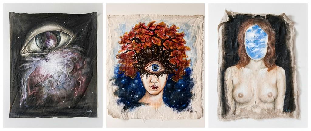 Peintures à l'huile sur toile de jute, d'Erica Quida